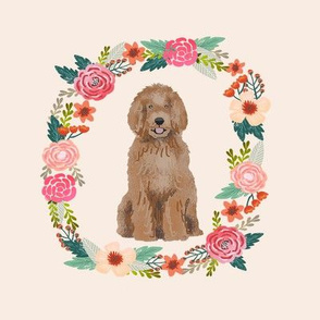 8 inch labradoodle wreath florals dog fabric