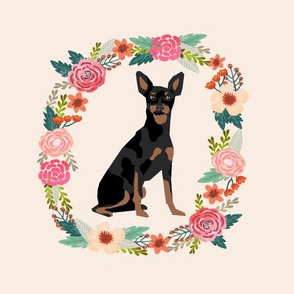 8 inch miniature pinscher wreath florals dog fabric