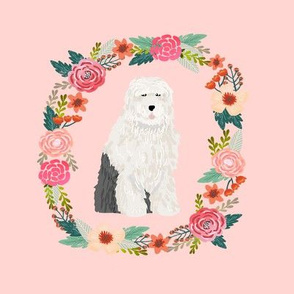 8 inch old english sheepdog wreath florals dog fabric