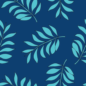 Palm spring leaves sweet minimal botanical garden summer design navy blue XXL