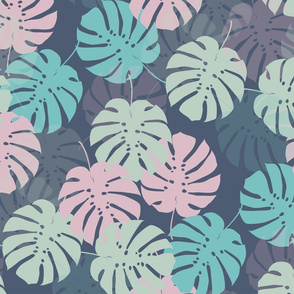 tropicalleaves_dark_Spoonflower