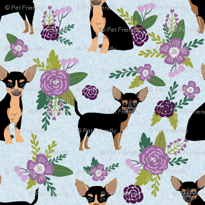 chihuahua black and tan pet quilt c cheater quilt collection floral coordinate dog fabric