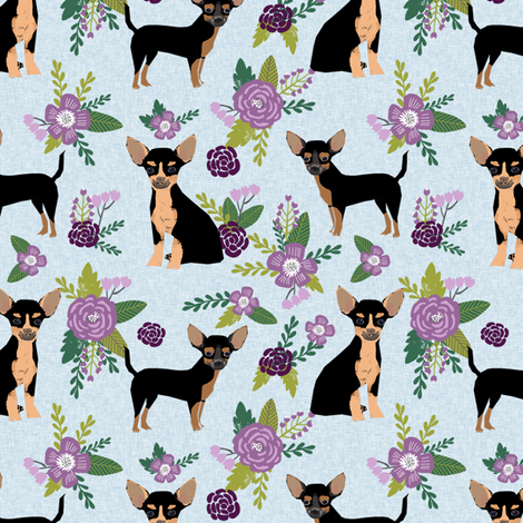 chihuahua black and tan pet quilt c cheater quilt collection floral coordinate dog fabric fabric by petfriendly on Spoonflower - custom fabric