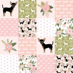 Geeky Chihuahuas On Red Chihuahua Dogs Fabric Printed by Spoonflower BTY