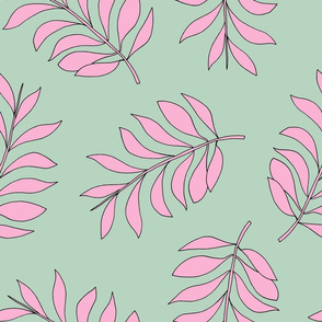 Palm spring leaves sweet minimal botanical garden summer design mint pink XXL