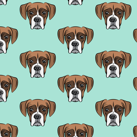 boxer face w/white fabric by littlearrowdesign on Spoonflower - custom fabric