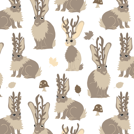 Jackalope Forest - White fabric by jannasalak on Spoonflower - custom fabric