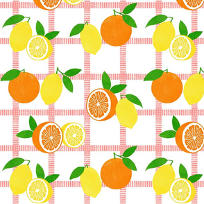 Lemon and Orange Picnic Plaid Block Print