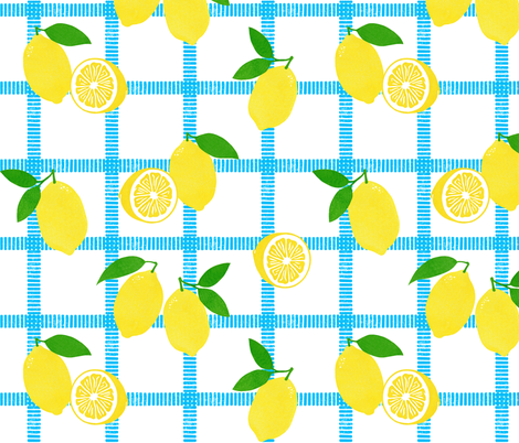 Lemon Picnic Plaid Block Print fabric by always_june on Spoonflower - custom fabric