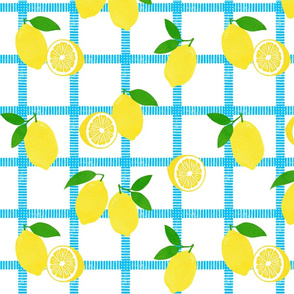 Lemon Picnic Plaid Block Print