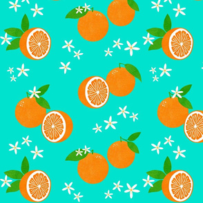 Orange Blossom Block Print on Turquoise