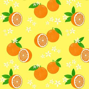 Orange Blossom Block Print on Buttercup Yellow