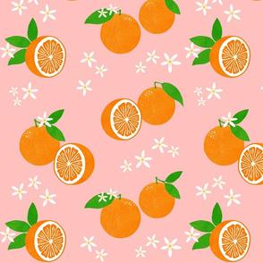 Orange Blossom Block Print on Coral