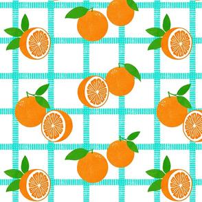 Orange Picnic Plaid Block Print