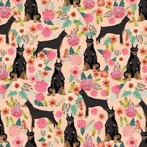 doberman (smaller) dog fabric doberman pinscher apricot fabric