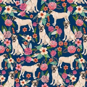 english mastiff florals (smaller) dog breed fabric navy