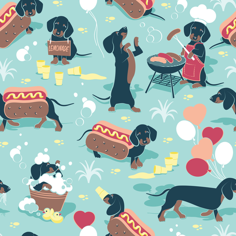 Hot dogs and lemonade // small scale // aqua background Dachshund sausage dogs fabric by selmacardoso on Spoonflower - custom fabric