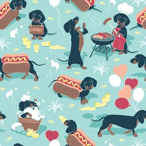 Hot dogs and lemonade // small scale // aqua background Dachshund sausage dogs