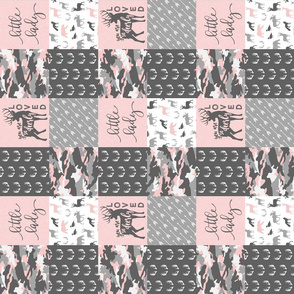 "(3"" small scale) You are so deerly loved / little lady - pink and grey camo - woodland patchwork (90)"