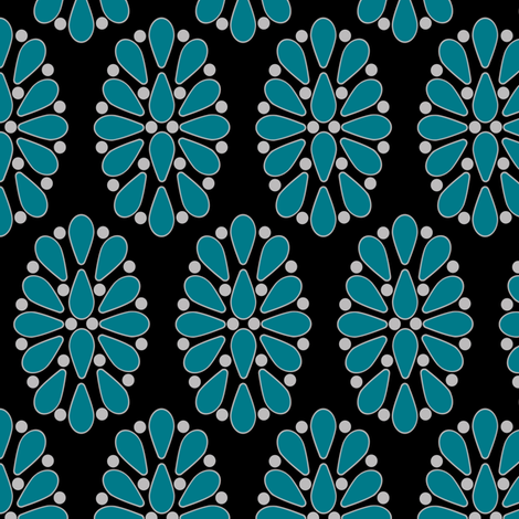 turquoise cluster fabric by clothcraft on Spoonflower - custom fabric