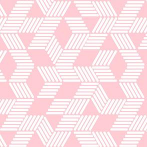 Geometric Maze_White Stripes on Blush