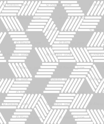 Geometric Maze_White Stripes on Gray