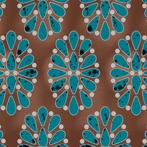 turquoise cluster on leather