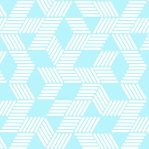 Geometric Maze_White Stripes on Sky Blue