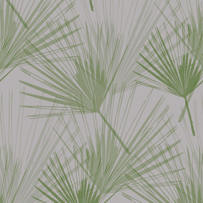 Palm Leaves - pale slate grey and foliage green