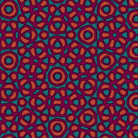 Moroccan flower tile - purple, orange, teal fabric by weavingmajor on Spoonflower - custom fabric