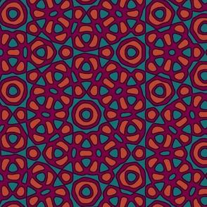 Moroccan flower tile - purple, orange, teal