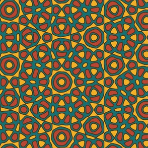 Moroccan flower tile - yellow, orange, teal