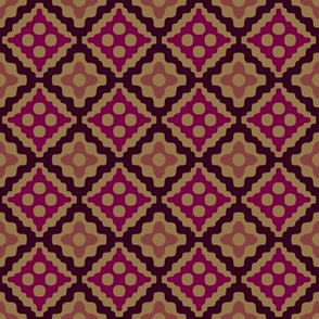 Moroccan diamonds - red and brown