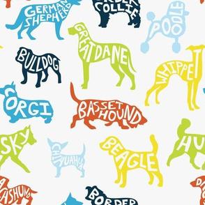Typography Dog Breeds - WHITE