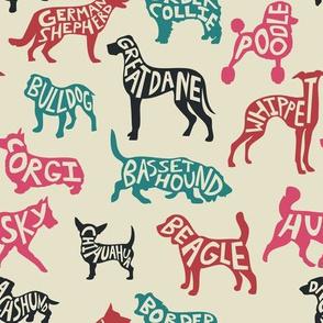 Typography Dog Breeds - TAN