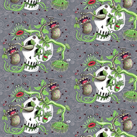 skull pot with carnivorous plants, small scale, gray grey green fabric by amy_g on Spoonflower - custom fabric