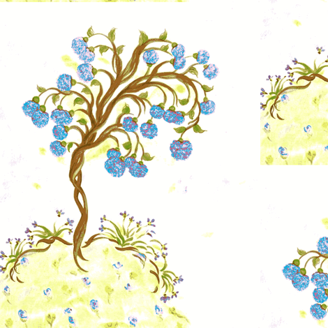 Soulfull Tree Blue fabric by lissikaplan on Spoonflower - custom fabric
