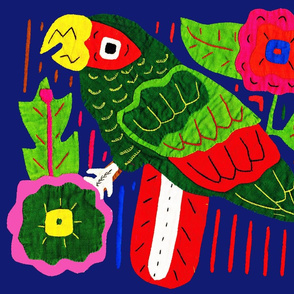 Mola - Caribbean Parrot with Flowers