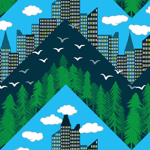 forest and city chevron full color large