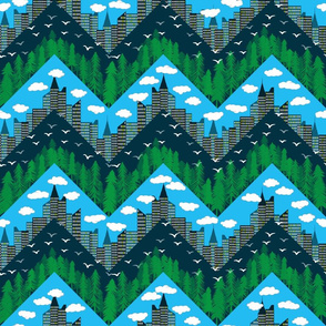 forest and city chevron full color