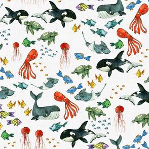 Sample Design - Ocean Animals with Linen background