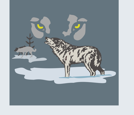 Wolf panel fabric by bow_lady_design on Spoonflower - custom fabric