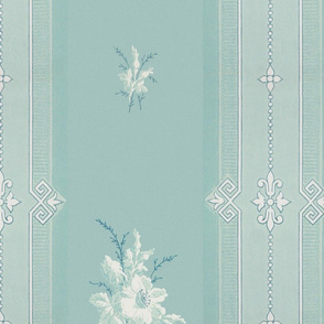 Baleful Blue-Green Floral Stripe - Lg