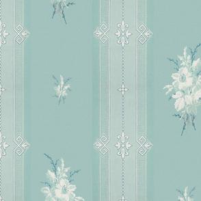 Baleful Blue-Green Floral Stripe - Med