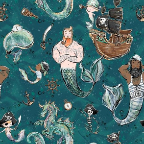 Pirate Mermen Party (Teal) (Big)
