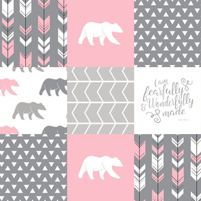 fearfully and wonderfully made patchwork (bear) - custom pink and grey C18BS