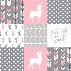 fearfully and wonderfully made patchwork (buck) - custom pink and grey