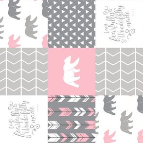 fearfully and wonderfully made patchwork (bear)- custom pink and grey (90) C18BS