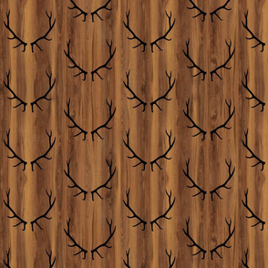 Elk Antlers // Dark Wood Grain // Small