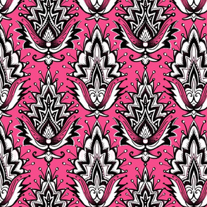 pink and black girly glam damask